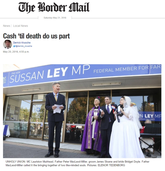 Border Mail image of the mock wedding