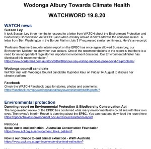 WATCHWORD newsletter front page August 2020