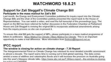 WATCHWORD newsletter August 2021
